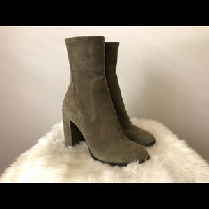 Chinese Laundry green suede heeled bootie